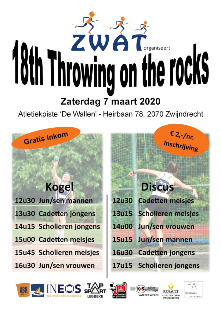 Zaterdag 7 maart - Throwing On the Rocks + live-results