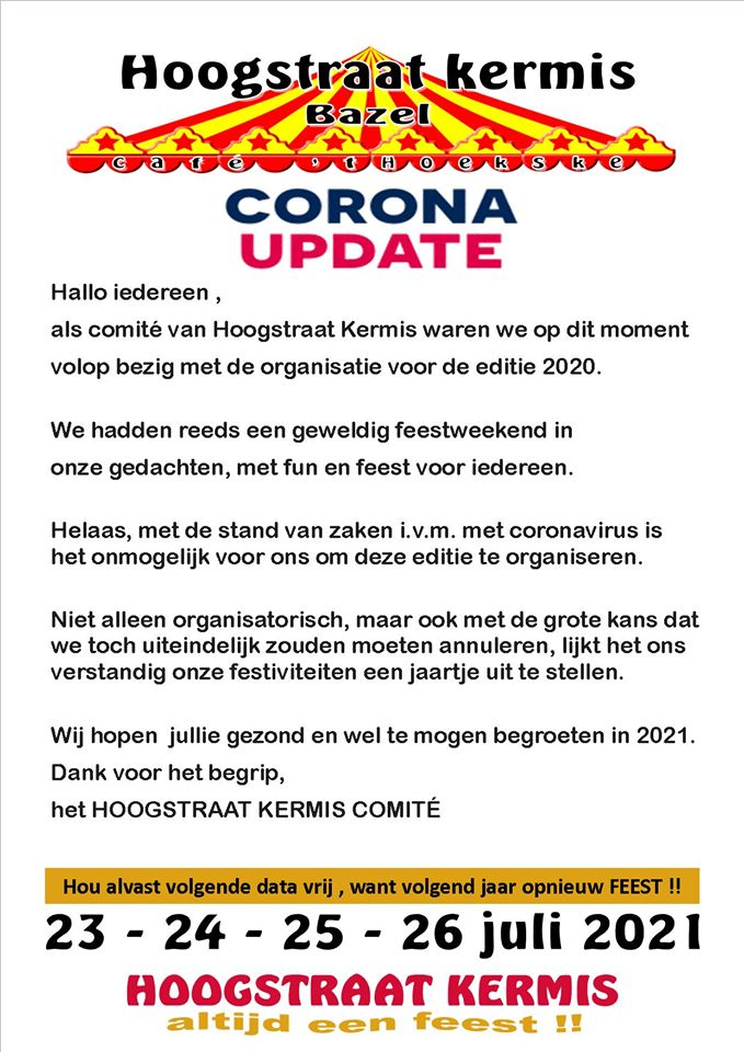 [Corona] Hoogstraatkermis Avondrun 2020 afgelast!